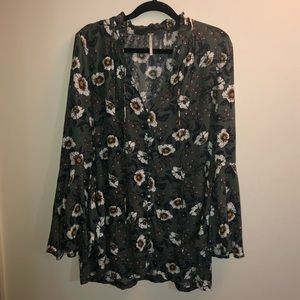 Free People Floral Button Up Mini Dress